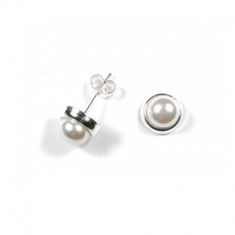 Pendientes Perla Con Circonitas 8mm