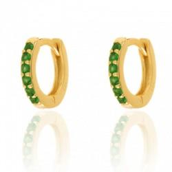 Aros Mini Circonitas Verdes Oro
